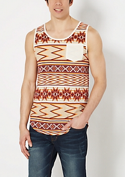 Burgundy Aztec Long  Length Tank Top