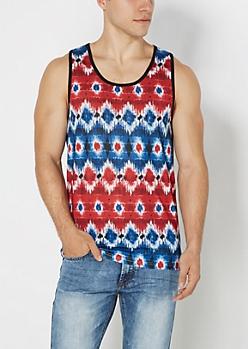 Americana Tribal Tie Dye Tank Top