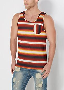 Red Baja Striped Tank Top