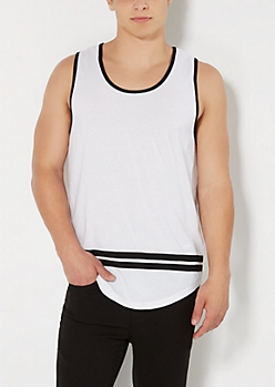 White Striped Long Length Tank Top