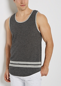 Marled Athletic Striped Tank Top