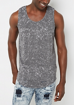 Charcoal Acid Washed & Torn Tank Top