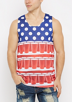 Red White & Beer Pong Tank