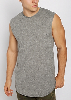 Marled Charcoal Raw Edge Muscle Tank