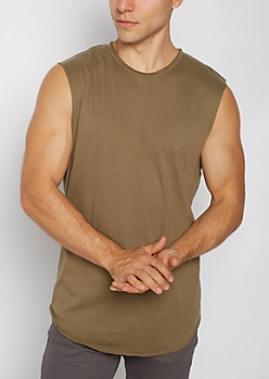 Olive Raw Edge Muscle Tank