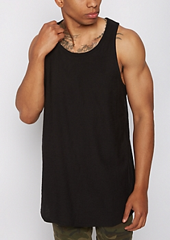 Black Slub Knit Long Length Tank Top