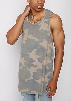 Camo Slub Knit Long Length Tank Top