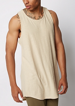 Sand Slub Knit Long Length Tank Top