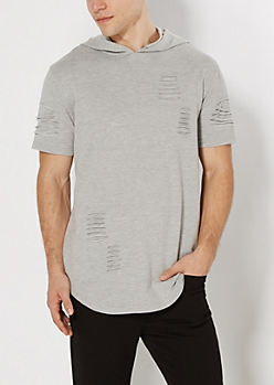 Gray Ripped Long Length Hooded Sweatshirt