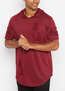 Burgundy Ripped Long Length Hooded Sweatshirt