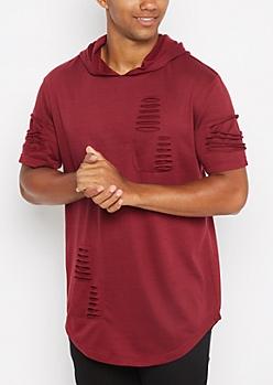 Burgundy Ripped Long Length Hooded Sweatshirt