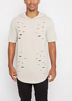 Oatmeal Distressed Long Length Hooded Sweatshirt