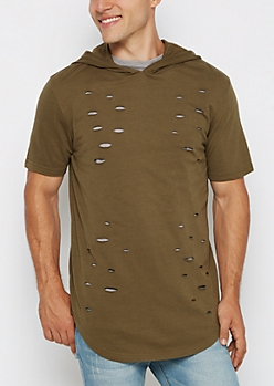 Olive Distressed Long Length Hooded Sweatshirt