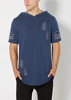 Navy Ripped Long Length Hooded Sweatshirt