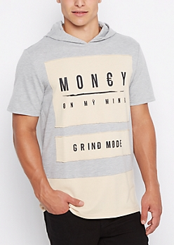 Patched Money Mind Longline Hoodie Tee