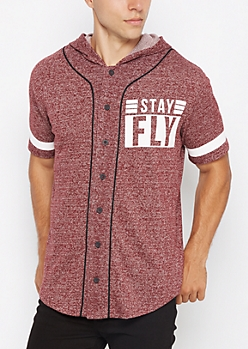 Burgundy Stay Fly Marled Baseball Hoodie