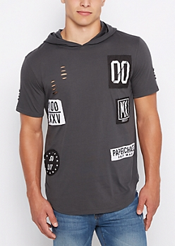 Patched & Ripped Longline Hoodie Tee