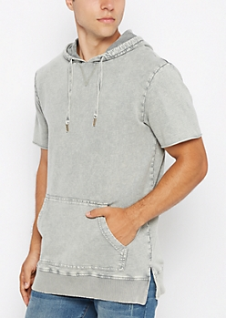 Gray Washed Hoodie Tee