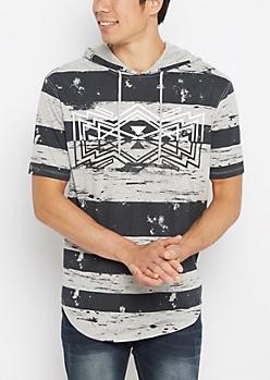 Aztec Striped Longline Hoodie Tee