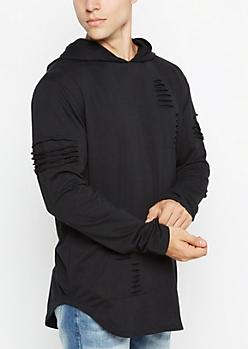 Black Shredded Longline Hoodie