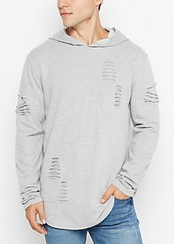 Gray Shredded Longline Hoodie