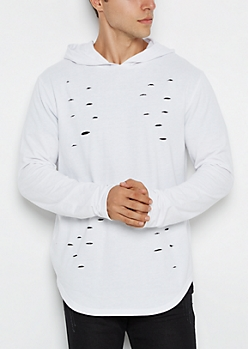 White Ripped Hole Longline Hoodie
