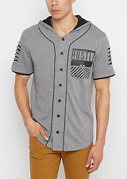 Hustle All Day Hooded Baseball Jersey