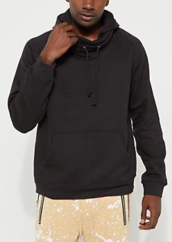 Black Slouchy Neck Hoodie