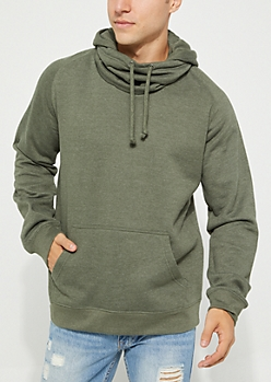 Olive Washed Slouchy Neck Hoodie