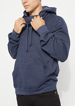 Navy Flocked Knit Hoodie