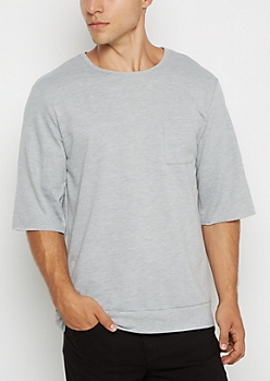 Heather Gray Raw Cut Sweatshirt