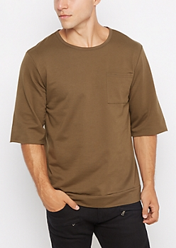 Olive Green Raw Cut Sweatshirt
