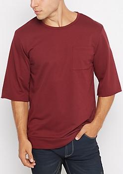 Burgundy Raw Cut Sweatshirt