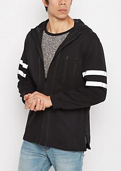 Black Reflective Striped Moto Hoodie