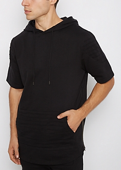 Black Moto Stitched Short Sleeve Hoodie
