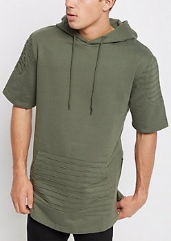 Olive Moto Stitched Short Sleeve Hoodie