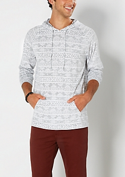 Gray Reverse Aztec Hooded Pullover