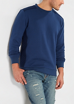 Navy Quilted Fleece Sweatshirt