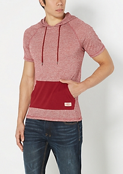 Burgundy Marled Hooded Top