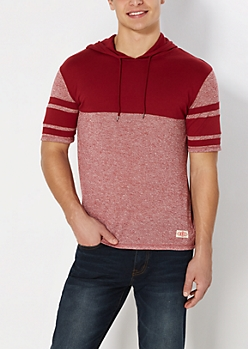 Red Marled Athletic Hooded Sweatshirt