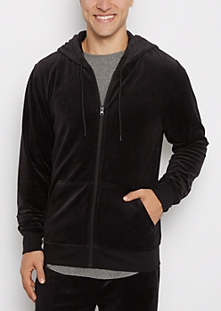 Black Velour Full-Zip Hoodie