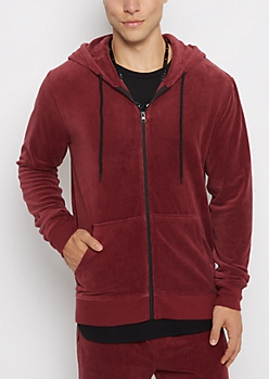 Burgundy Velour Full-Zip Hoodie