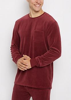 Burgundy Velour Sweatshirt