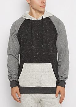 Black Marled Color Block Hoodie
