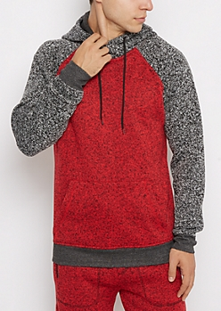 Red Marled Knit Cowl Neck Hoodie