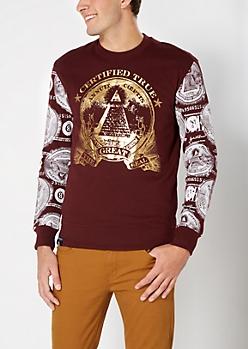 Burgundy Foil Great Seal Sweatshirt