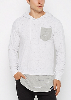 White Ripped Tonal Hooded Sweatshirt