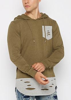 Olive Ripped Tonal Hooded Sweatshirt