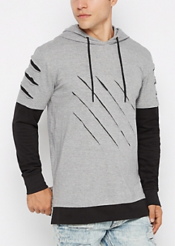Gray Slashed & Layered Hoodie