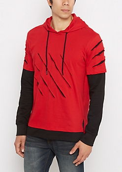 Red Slashed & Layered Hoodie